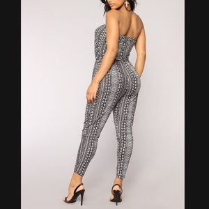 Fashion Nova East Coaster Stripe Jumpsuit Blk/Wht